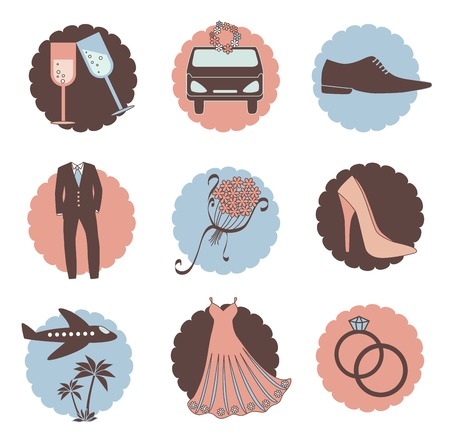 Vintage set of wedding icons Vector