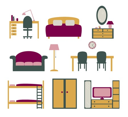 set of icons with furniture for apartment flat design Vector