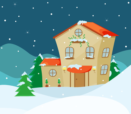 snowdrifts: Cartoon house on a background of a winter night landscape with snowdrifts and trees