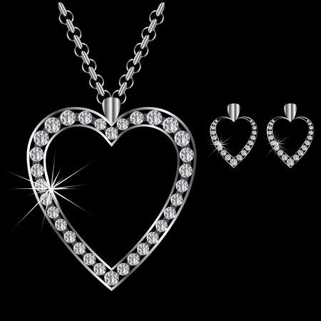 platina: platina of zilveren diamanten halsketting hartvormige met oorbellen
