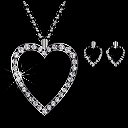 earrings: platinum or silver diamond necklace heart-shaped with earrings Illustration