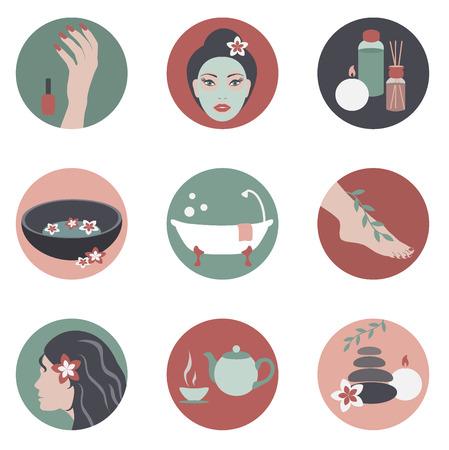 pedicura: Iconos vectoriales círculo con spa de belleza objetos diseño plano Vectores