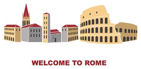 antiquary: Vector artistic illustration of Rome Italy flat design Illustration