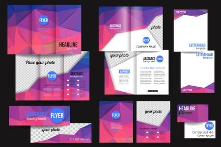 the brochure: Conjunto de modelos de negocio de papeler�a corporativa. Dise�o de folletos abstracta. Volver Moderno y fondos de viajero delanteros.