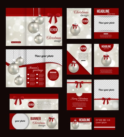 business invitation: Set of Christmas corporate business stationery templates. Abstract brochure design with photo realistic Xmas balls and blurred bokeh lights. Modern back and front flyer backgrounds.  Illustration