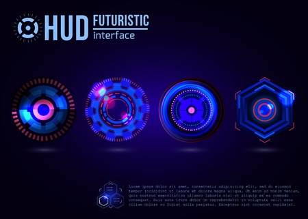 data system: Futuristic HUD interface elements. Virtual touch user. Illustration