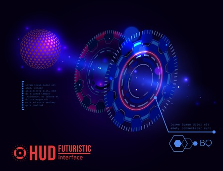 touch screen interface: Futuristic HUD interface elements. Virtual touch user. Illustration