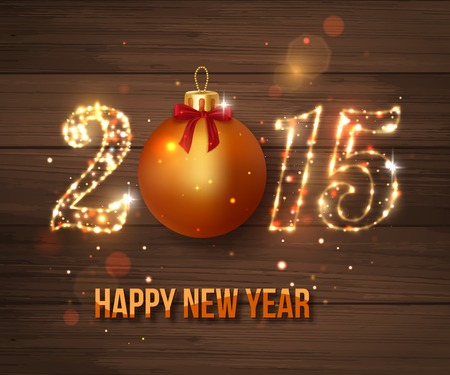new years eve background: Happy New Year 2015 celebration concept on wooden background.  Illustration