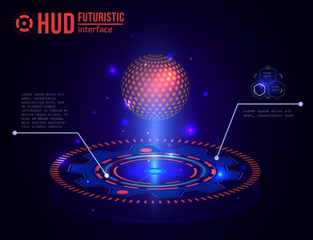 Futuristic HUD interface elements. Virtual touch user. Illustration