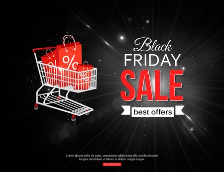 Black friday sale shining background with photorealistic shopping cart and place for text.