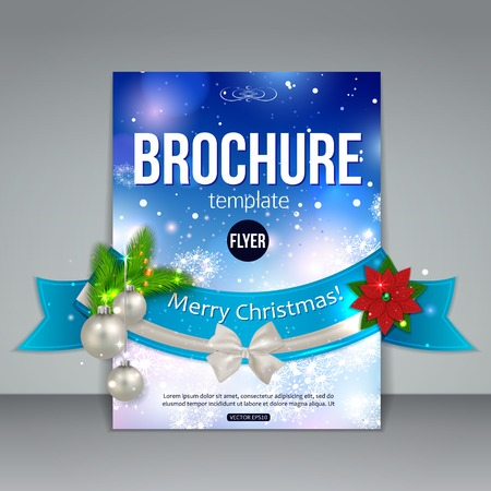 company background: Christmas brochure template. Abstract flyer design with xmas fir tree, white bow, ribbon, poinsettia, silver balls, blurred bokeh lights and place for text.  Illustration