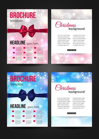 Set of Christmas corporate business stationery templates. Abstract brochure design with photorealistic bows and blurred bokeh lights. Modern back and front flyer backgrounds.  Illustration
