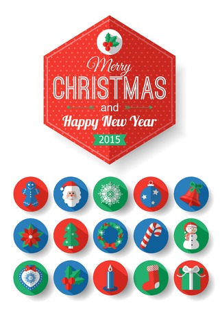 Set of Christmas typographical label and round flat icons with long shadow.   Vector