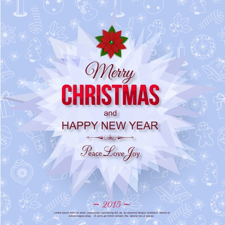 typographical: Happy New Year 2015 typographical celebration concept over christmas seamless pattern and place for text. Abstract background.