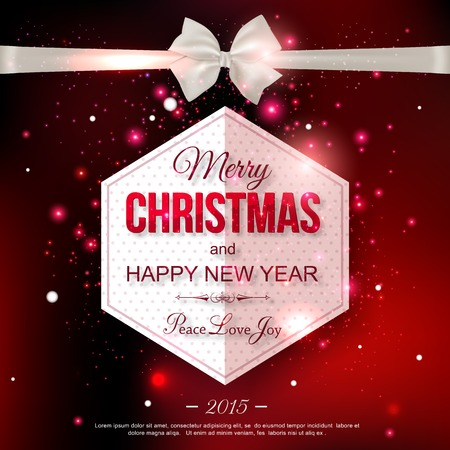 mo�o blanco: Feliz A�o Nuevo 2015 celebraci�n tipogr�fico concepto con el arco blanco de seda sobre fondo brillante rojo y el lugar de texto. Resumen de antecedentes. Vectores