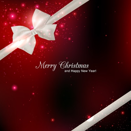 mo�o blanco: Luminoso fondo rojo de Navidad con el arco blanco de seda y el lugar de texto. Resumen de antecedentes.