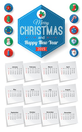 Calendar template with Christmas typographical label and round flat icons with long shadow. Vector