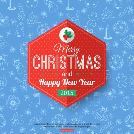 Christmas typographical label over blue seamless pattern with christmas icons. Vector