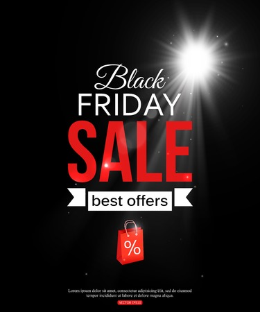 Black friday sale shining typographical background with and place for text. Vector illustration. Ilustração