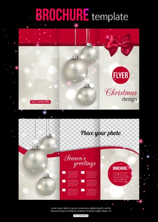 pink bow: Christmas trifold brochure template. Abstract flyer design with xmas pink bow, silver balls, blurred bokeh lights and place for text. Back and front sides. Vector illustration.