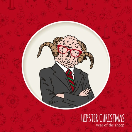 buisnessman: Hand drawn sheep man. Hipster Christmas greeting card. Vector illustration.