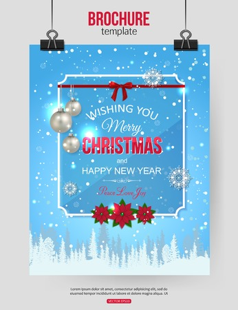 bolls: Christmas brochure template. Abstract typographical flyer design with winter landscape, poinsettia, silver bolls, red bow, blurred bokeh lights and place for text. Vector illustration.