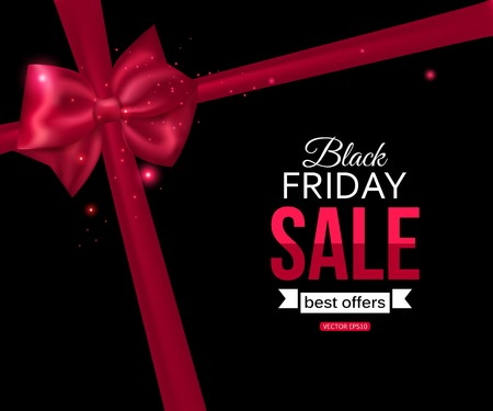 black friday: Black friday sale shining typographical background with photorealistic pink bow and place for text. Vector illustration.