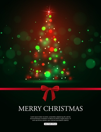 xmas tree: . Merry Christmas 2015 celebration concept with xmas tree lights, red bow and place for text. Shining Christmas background. Vector illustration.