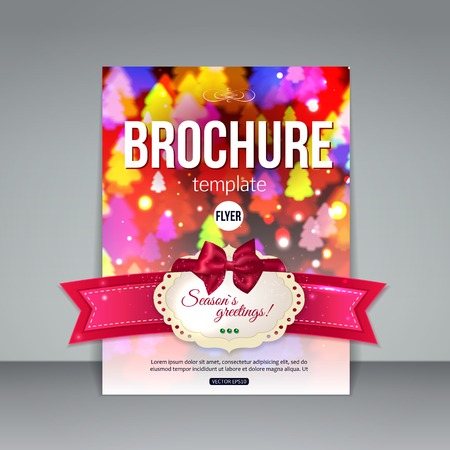 Christmas brochure template. Abstract flyer design with red bow, ribbon, blurred bokeh lights and place for text. Vector illustration.