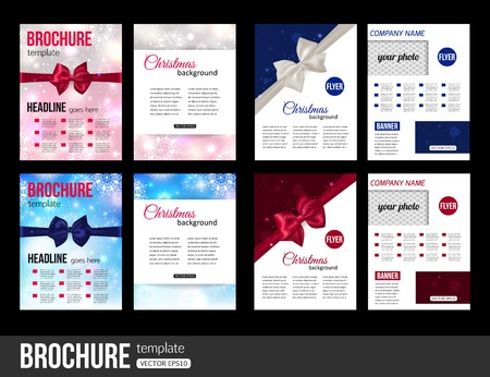 Christmas brochure templates. Abstract flyer design with xmas bows, blurred bokeh lights and place for text. Back and front sides. Vector illustration. Illustration