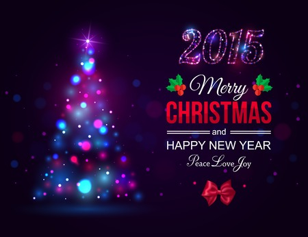 Merry Christmas 2015 celebration concept with xmas tree lights, red bow and place for text. Shining Christmas typographical background. Vector illustration. Illustration