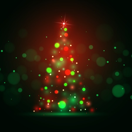xmas tree: Christmas shining background with xmas tree lights. Vector illustration. Illustration
