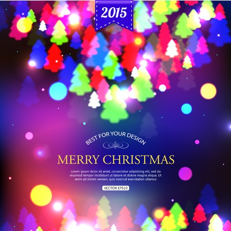 typographical: Christmas shining typographical background with xmas tree lights and place for text. Vector illustration.
