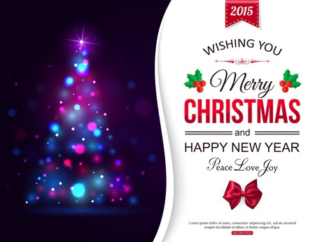 merry christmas banner: Christmas shining typographical background with xmas tree lights and place for text. Vector illustration.