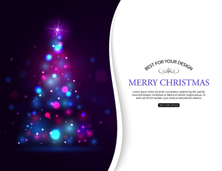 xmas tree: Christmas shining typographical background with xmas tree lights and place for text. Vector illustration.