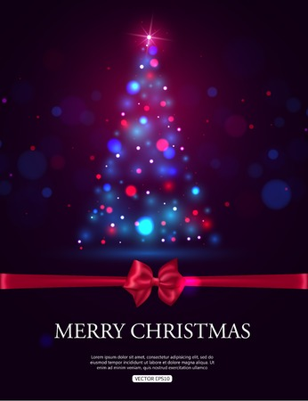 xmas tree: Merry Christmas 2015 celebration concept with xmas tree lights, red bow and place for text. Shining Christmas background. Vector illustration.