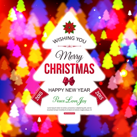 typographical: Christmas shining typographical background with xmas tree lights. Shining Christmas background. Vector illustration.