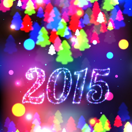 xmas tree: Merry Christmas 2015 celebration concept with xmas tree lights. Christmas background. Vector illustration. Illustration