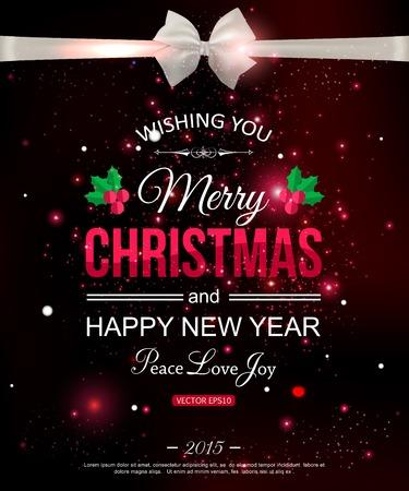 mo�o blanco: Feliz Navidad tipogr�fico celebraci�n concepto con arco blanco sobre fondo de seda y un lugar brillante para el texto. Resumen de antecedentes. Ilustraci�n del vector.