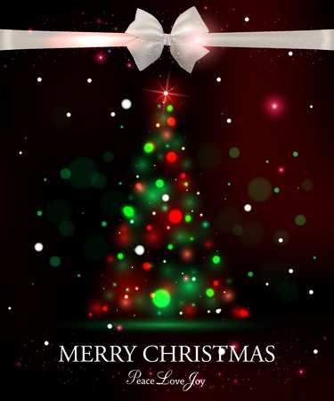 typographical: Merry Christmas typographical celebration concept with silk white bow and shining christmas tree. Abstract background. Illustration