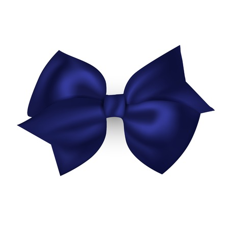business invitation: Isolated blue photorealistic silk bow for your holiday design. Vector illustration. Illustration