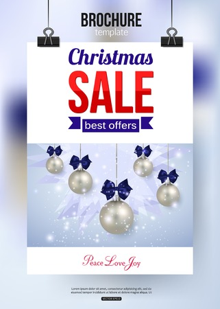 typographical: Christmas sale shining typographical background with place for text. Broshure design. Vector illustration.