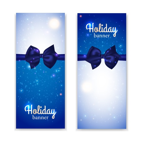 photorealistic: Set of two vertical holiday banners with photorealistic blue bows. Vector illustration. Illustration