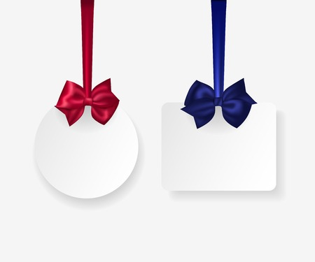 christmas bow: Hanging white paper labels with photorealistic red and blue bows. Vector illustration. Illustration