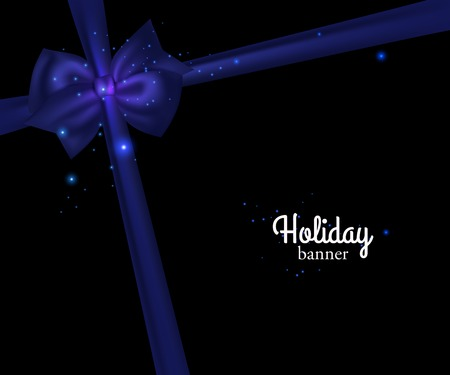 blue bow: Elegant holiday banner with photorealistic blue bow and place for text on black background. Vector illustration. Illustration