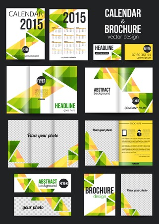 Set of corporate business stationery templates and calendar. Abstract brochure design. Modern back and front flyer backgrounds. Vector illustration.
