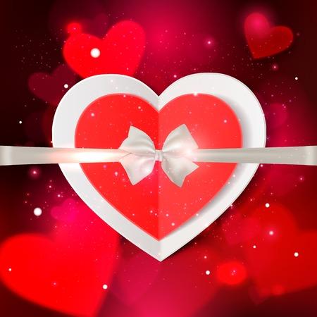 mo�o blanco: Feliz d�a de San Valent�n resplandor de fondo de vacaciones con brillantes corazones blandos, luces de bokeh borrosa, lazo blanco fotorrealista y el lugar de texto. Esta ilustraci�n vectorial se puede utilizar como tarjeta de felicitaci�n o invitaci�n de la boda para su dise�o.