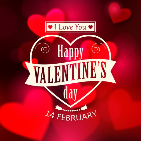 Happy Valentines day  glow holiday background with shining soft hearts, blurred bokeh lights, photorealistic white bow and  place for text. This vector illustration can be used as greeting card or wedding invitation for your design.