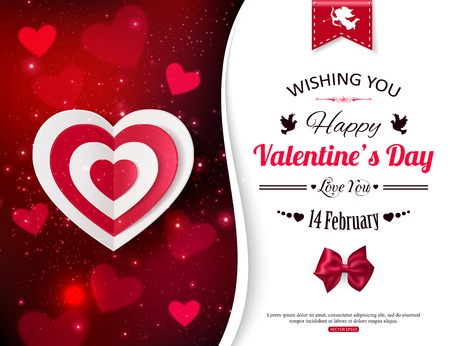 Happy Valentines day  glow holiday background with shining soft hearts, blurred bokeh lights, photorealistic white bow and  place for text. This vector illustration can be used as greeting card or wedding invitation for your design. Vector