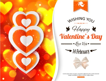 valentines day background: Happy Valentines day  glow holiday background with shining soft hearts, blurred bokeh lights, photorealistic white bow and  place for text. This vector illustration can be used as greeting card or wedding invitation for your design.